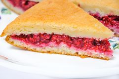 A piece of homemade cake filled with fresh raspberries. A delicious piece of homemade cake filled with fresh raspberries Stock Photography