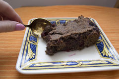 Delicious piece of homemade chocolate cake Royalty Free Stock Images