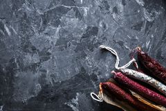 Delicious pieces of smoked sausage stock images