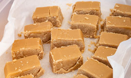 Delicious Pieces of Sweet Brown Maple Syrup Fudge Stock Images
