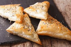 Delicious pies filo pastry with chicken, spinach and feta close- Stock Photos