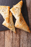 Delicious pies filo pastry with chicken, spinach and feta close- Royalty Free Stock Images
