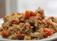 Delicious pilaf with meat Stock Photos