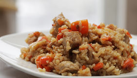 A delicious pilaf with meat Stock Images