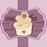 Delicious pink cupcake Stock Images