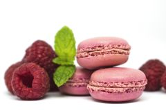 Pink raspberry macaroons, mint on white background. Delicious pink french macaroons on white background with fresh raspberry and mint leaves Royalty Free Stock Photography