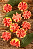 Delicious pink guava fruits slices Stock Photos