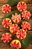 Delicious pink guava fruits slices Stock Photo