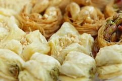 Delicious pistachios baklava focus on second row Royalty Free Stock Photography