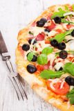 Delicious pizza background. Stock Photography