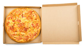 Delicious pizza in box Stock Images