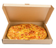 Delicious pizza in box Royalty Free Stock Images
