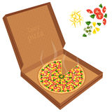 Delicious pizza in a cardboard box. Royalty Free Stock Photos