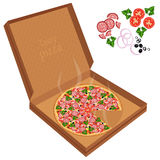 Delicious pizza in a cardboard box. Royalty Free Stock Photo