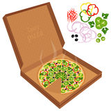 Delicious pizza in a cardboard box. Stock Image