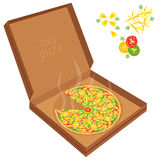 Delicious pizza in a cardboard box. Royalty Free Stock Images