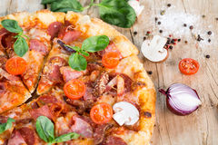 Delicious pizza with cheese Royalty Free Stock Images