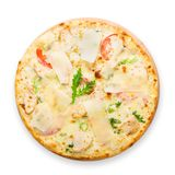 Delicious pizza with chicken, parmesan and fresh arugula Stock Photo