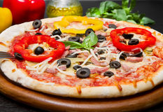 A Delicious Pizza with Fresh pepper and olives Royalty Free Stock Image
