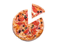 Delicious pizza with ham, tomatoes, and olives with a slice remo Stock Image