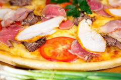 Delicious pizza. Delicious homemade italian pizza for food delivery Royalty Free Stock Photo