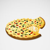 Delicious pizza with lifted slice. Royalty Free Stock Image