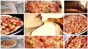 Delicious pizza montage. Italian pizza, composition including pizza close ups and a woman eating pizza