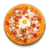 Delicious pizza with mushrooms, bacon and egg Stock Image