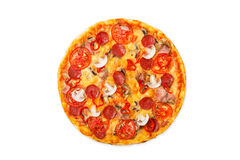 Delicious pizza with mushrooms, chili and pepperoni Stock Photo