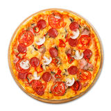 Delicious pizza with mushrooms, chili and pepperoni Royalty Free Stock Photography