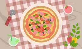 Delicious pizza with mushrooms and sausage on a checkered tablecloth with cocktails. Delicious hot pizza with mushrooms, tomatoes and sausage served with royalty free illustration