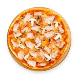 Delicious pizza with mushrooms and smoked chicken Royalty Free Stock Photos