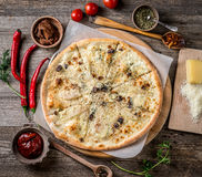 Delicious pizza with nuts and pears, topview Royalty Free Stock Image