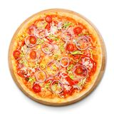 Delicious pizza with onions, bacon and cherry tomato Royalty Free Stock Photography