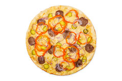 Delicious pizza with onions and carpaccio Royalty Free Stock Images