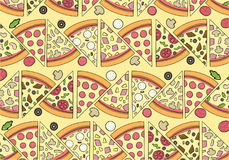 Delicious Pizza Pattern with ingredients Stock Image
