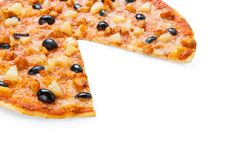 Delicious pizza with pineapple, chicken and olives Stock Photos