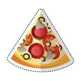 Delicious pizza portion icon. Vector illustration design Stock Photo