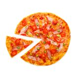 Delicious pizza with red and green hot chili peppers Stock Photos
