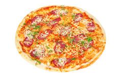 Delicious pizza with salami and cheese. On white background Stock Image