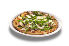 Delicious pizza with salami, herbs and cheese Royalty Free Stock Photography