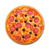 Delicious pizza with salami, mushrooms and olives Royalty Free Stock Photography