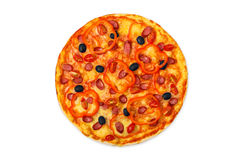 Delicious pizza with sausages, peppers and olives Stock Photos