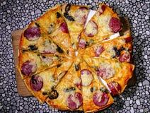 Delicious pizza top view stock photos