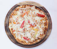 Delicious pizza top view Royalty Free Stock Photography