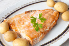 Delicious plate of baked salmon Stock Image