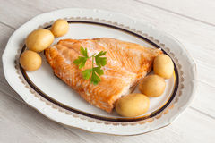 Delicious plate of baked salmon Royalty Free Stock Photography
