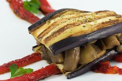 Eggplant sandwich stuffed with zucchini, mushrooms and pepper royalty free stock images
