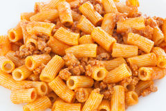 Delicious plate of macaroni served with tomato Stock Photo