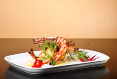 Delicious plate of prawns Stock Images